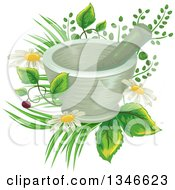 Mortar And Pestle Over Flowers And Medicinal Plants