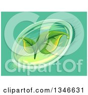 Clipart Of A Soft Gel Capsule With Leaves Royalty Free Vector Illustration
