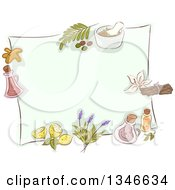 Clipart Of A Blank Piece Of Paper Bordered In Sketched Herbal Plants Royalty Free Vector Illustration by BNP Design Studio