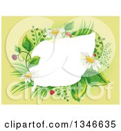 Clipart Of A White Leaf Frame With Herbal Plants Royalty Free Vector Illustration