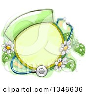 Clipart Of A Sketched Round Frame With Herbal Plants Flowers And A Stethoscope Royalty Free Vector Illustration
