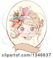 Retro Styled Dirty Blond Caucasian Girl With Ice Cream And Sweets In Her Hair Inside An Oval Frame With A Blank Banner