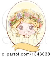 Retro Styled Blond Caucasian Girl With Flowers In Her Hair Inside An Oval Frame With A Blank Banner