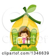 Clipart Of A Cartoon Happy Brunette Caucasian Girl In A Lemon House With Lemonade At The Window Royalty Free Vector Illustration