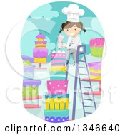 Clipart Of A Cartoon Brunette Caucasian Female Baker On A Ladder Decorating A Tall Cake Royalty Free Vector Illustration by BNP Design Studio