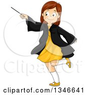 Clipart Of A Cartoon Happy Brunette Caucasian Girl Playing With A Magic Wand Royalty Free Vector Illustration by BNP Design Studio