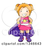 Clipart Of A Cartoon Red Haired Caucasian Super Hero Girl Royalty Free Vector Illustration