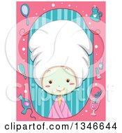 Clipart Of A Cartoon Caucasian Girl Wearing A Towel On Her Hair And A Face Mask In A Pink And Stripe Beauty Frame Royalty Free Vector Illustration by BNP Design Studio