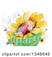 Clipart Of A Cartoon Red Haired Caucasian Girl Sleeping In A Giant Sunflwoer Royalty Free Vector Illustration by BNP Design Studio