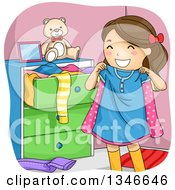 Clipart Of A Cartoon Happy Brunette Caucasian Girl Holding Up A Shirt Royalty Free Vector Illustration