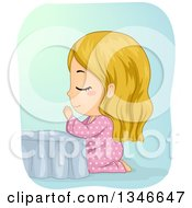 Clipart Of A Cartoon Blond Caucasian Girl Kneeling And Praying At Her Bed Side Royalty Free Vector Illustration by BNP Design Studio