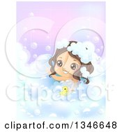 Clipart Of A Happy Brunette Caucasian Girl Playing With A Rubber Duck In A Bubble Bath Royalty Free Vector Illustration