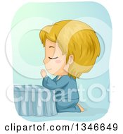 Clipart Of A Cartoon Blond Caucasian Boy Kneeling And Praying At The Foot Of His Bed Royalty Free Vector Illustration by BNP Design Studio