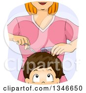 Clipart Of A Cartoon Caucasian Woman Cutting A Boys Hair Royalty Free Vector Illustration