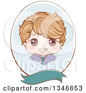 Clipart Of A Happy Dirty Blond Caucasian Boy Wearing A Neck Tie In A Blue Oval Frame Over A Blank Banner Royalty Free Vector Illustration