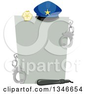 Clipart Of A Gray Piece Of Paper With Police Accessories Royalty Free Vector Illustration