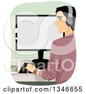 Rear View Of A Black Haired Man Looking Back Wearing Headphones And Working On A Desktop Computer