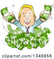 Clipart Of A Cartoon Blond Caucasian Business Man Popping Out Of A Pile Of Cash Money Royalty Free Vector Illustration