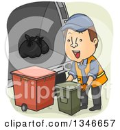 Clipart Of A Cartoon Brunette Caucasian Garbage Man With Canisters Royalty Free Vector Illustration by BNP Design Studio