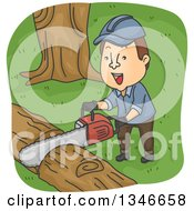 Clipart Of A Cartoon Brunette Caucasian Logger Cutting With A Chainsaw Royalty Free Vector Illustration by BNP Design Studio