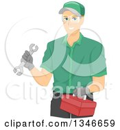 Clipart Of A Happy Caucasian Mechanic Holding A Wrench And Tool Box Royalty Free Vector Illustration by BNP Design Studio