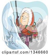 Cartoon Caucasian Man Climbing A Snowy Mountain