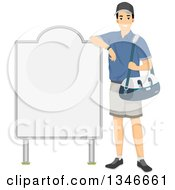 Clipart Of A Happy Male Athlete Holding A Bag And Leaning Against A Blank Sign Royalty Free Vector Illustration