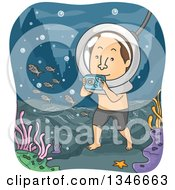 Clipart Of A Cartoon Brunette Caucasian Man Walking Along The Ocean Shore And Taking Pictures Royalty Free Vector Illustration