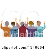 Clipart Of A Rear View Of A Group Of Male Sports Fans Cheering Royalty Free Vector Illustration