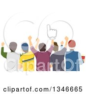 Clipart Of A Rear View Of A Group Of Male Sports Fans Cheering One With A Foam Finger Royalty Free Vector Illustration
