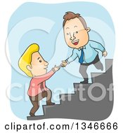 Cartoon Caucasian Business Man Offering A Hand To Help A Colleague Up Stairs