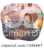 Clipart Of Cartoon White And Black Men Laughing And Having A Good Time In A Man Cave Royalty Free Vector Illustration