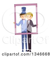 Clipart Of A Happy Gay Wedding Couple Holding A Frame For A Wedding Picture Royalty Free Vector Illustration by BNP Design Studio