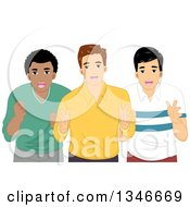Clipart Of A Group Of Three Cheering Men Royalty Free Vector Illustration