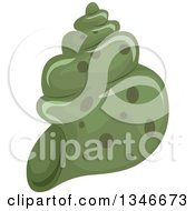 Clipart Of A Green Conch Sea Shell Royalty Free Vector Illustration by BNP Design Studio