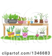 Clipart Of A Garden Table With Potted Plants Royalty Free Vector Illustration by BNP Design Studio
