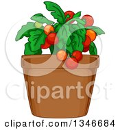 Clipart Of A Tomato Plant In A Pot Royalty Free Vector Illustration
