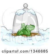 Clipart Of A Glass Cloche Dome Over A Plant In The Snow Royalty Free Vector Illustration