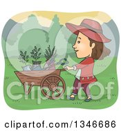 Clipart Of A Cartoon Brunette Caucasian Woman Pushing A Wheelbarrow Of Garden Tools And Plants Royalty Free Vector Illustration