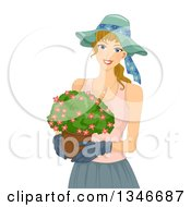 Clipart Of A Happy Dirty Blond Caucasian Woman Carrying A Flower Pot Royalty Free Vector Illustration