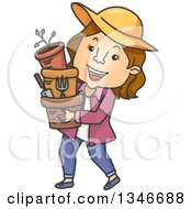 Clipart Of A Cartoon Brunette Caucasian Woman Carrying Garden Pots And Tools Royalty Free Vector Illustration