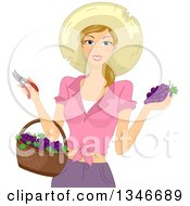 Clipart Of A Happy Dirty Blond Caucasian Woman Wearing A Garden Sun Hat Holding Grapes Pruners And A Basket Royalty Free Vector Illustration