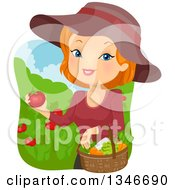Clipart Of A Cartoon Red Haired Caucasian Woman Harvesting Tomatoes And Veggies From Her Garden Royalty Free Vector Illustration