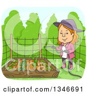 Clipart Of A Cartoon Red Haired Caucasian Woman Watering Vegetable Plants In A Raised Garden Bed Royalty Free Vector Illustration