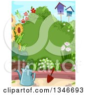Clipart Of A Lush Garden With A Watering Can Trowel Flowers Bird Houses And A Shrub With Text Space Royalty Free Vector Illustration