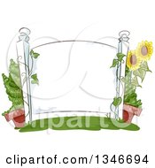 Clipart Of A Blank White Sign With Sunflowers And A Potted Plant Royalty Free Vector Illustration