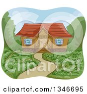 Clipart Of A Garden Yard Of A Cabin Royalty Free Vector Illustration by BNP Design Studio