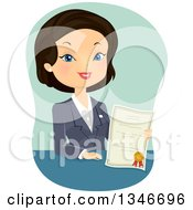 Clipart Of A Cartoon Black Haired Business Woman Or Insurance Agent Holding A Certificate Royalty Free Vector Illustration by BNP Design Studio