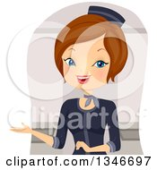 Clipart Of A Cartoon Brunette Caucasian Stewardess Welcoming Royalty Free Vector Illustration