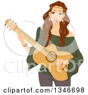 Brunette Caucasian Hippie Woman Singing And Playing A Guitar
